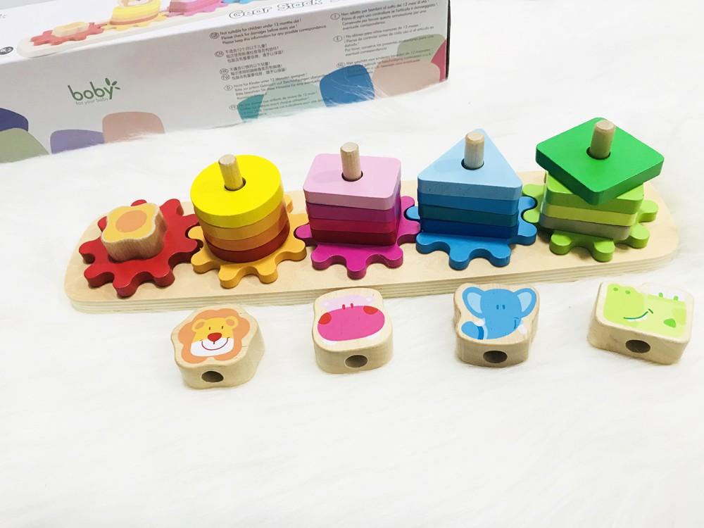 Đồ chơi gỗ thả hình khối bánh răng BOBY