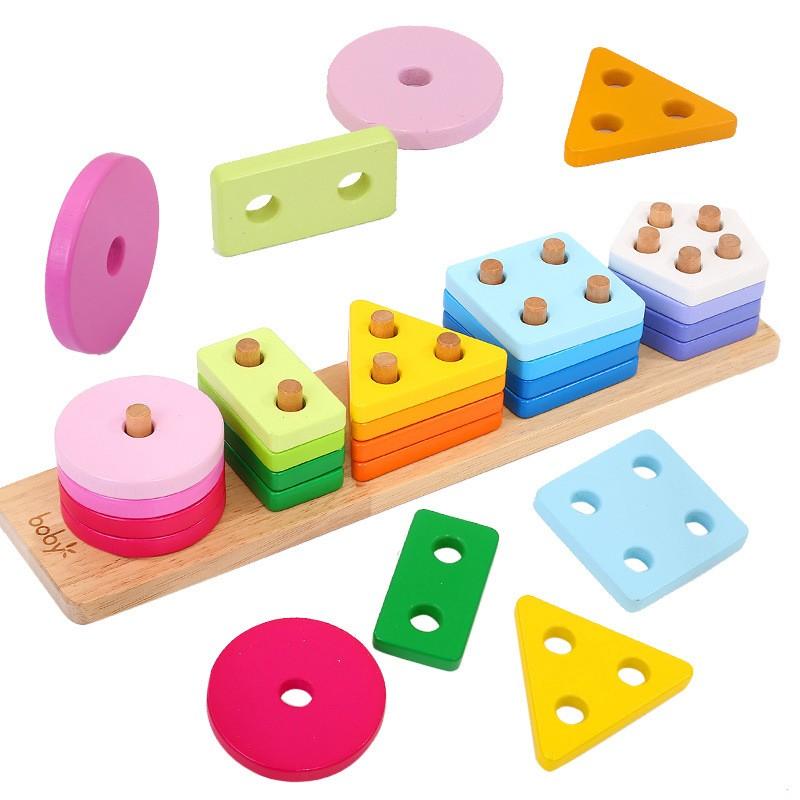 Thả hình khối luồn cọc gỗ Montessori